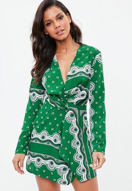 Zielona zawijana sukienka w apaszkowy wzór