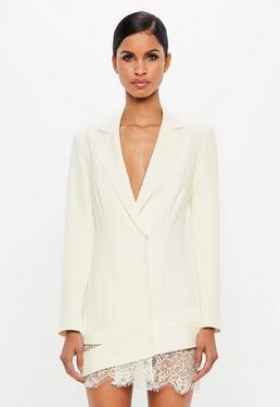 Peace + Love White Lace Hem Blazer Dress