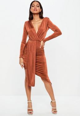 Brown Slinky Cut Out Dress