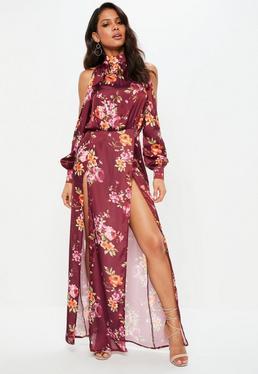 Purple Split Front Floral Satin Maxi Dress