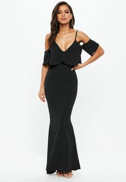 Black Frill Fishtail Maxi Dress