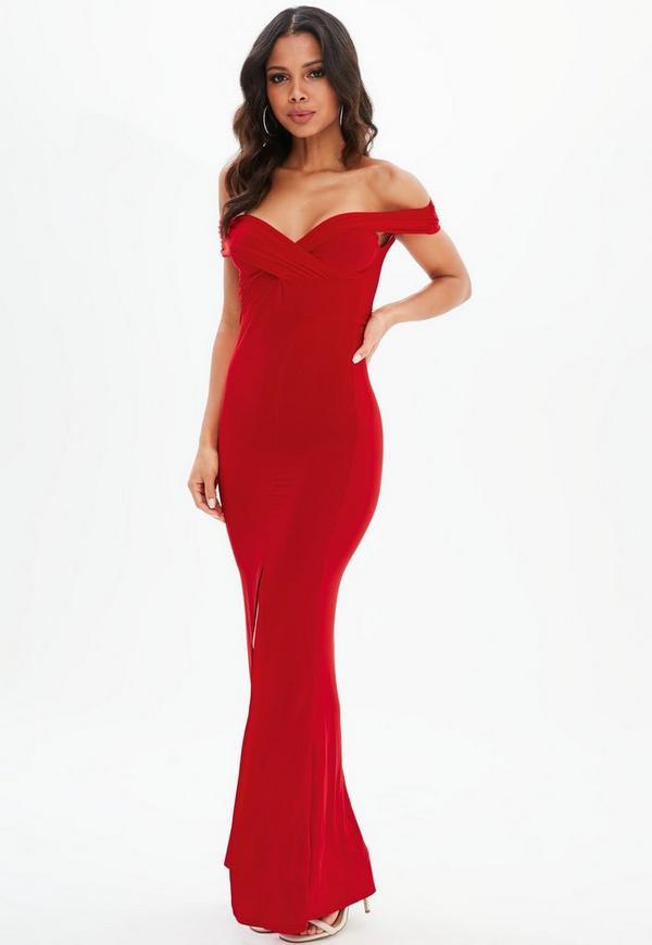 Red Bardot Wrap Split Maxi Dress Missguided