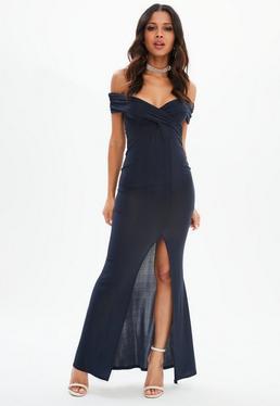 Navy Bardot Wrap Split Maxi Dress