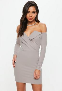 Grey Bardot Foldover Wrap Dress