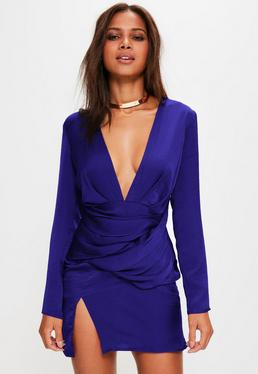 Blue Silky Panelled Long Sleeve Shift Dress