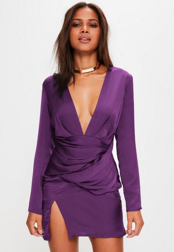 Purple Satin Panelled Long Sleeve Shift Dress | Missguided