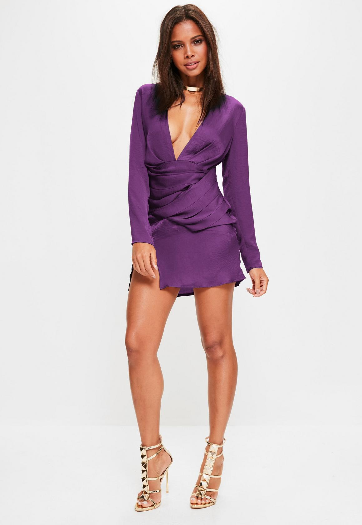 60c205b267 Missguided - Purple Satin Panelled Long Sleeve Shift Dress
