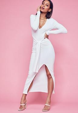 Cream Ribbed Plunge Belted Maxi Dress