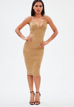 Brown Faux Suede Midi Dress