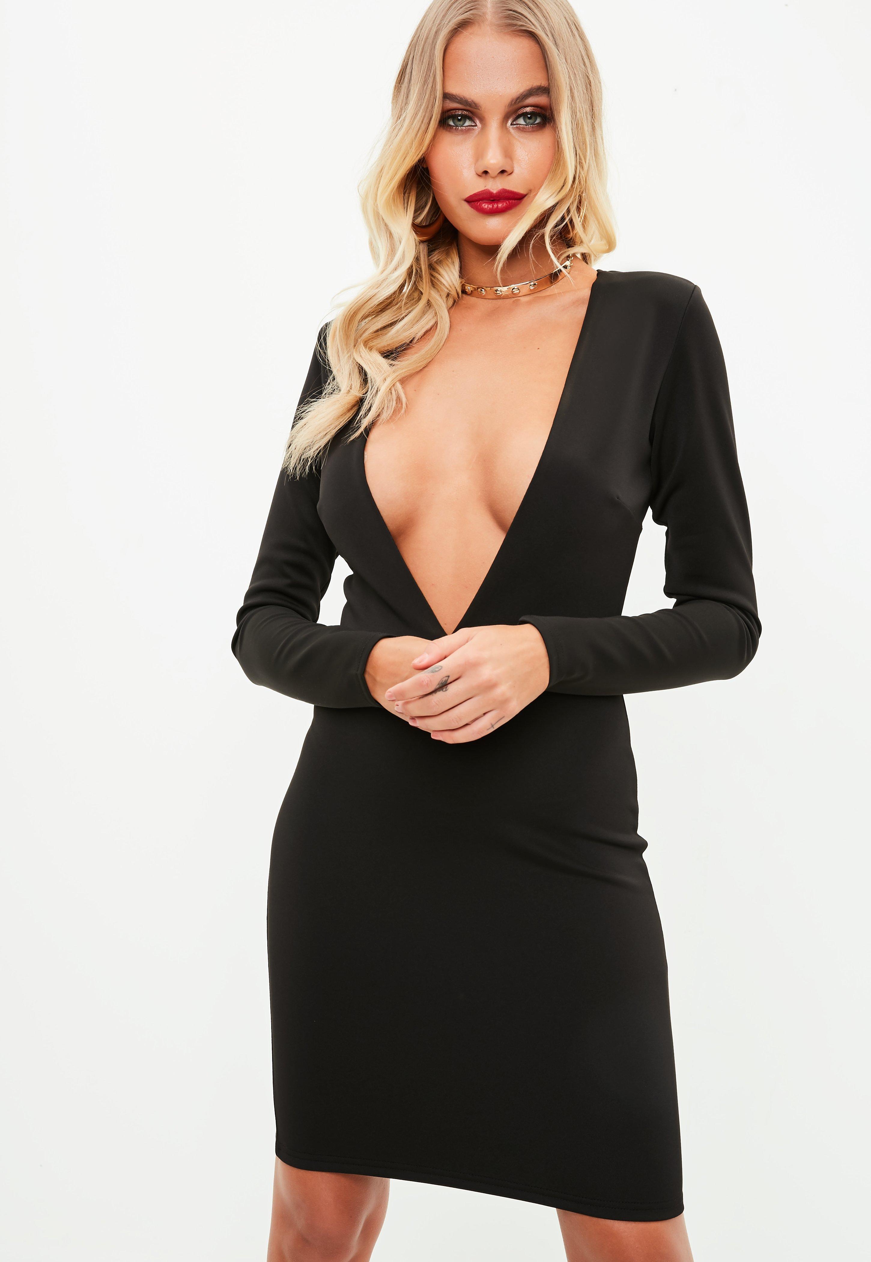 f79dd4cc83df Black Long Sleeve Plunge Dress
