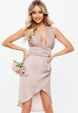 Vestido dama de honor con multiposición de satén en rosa