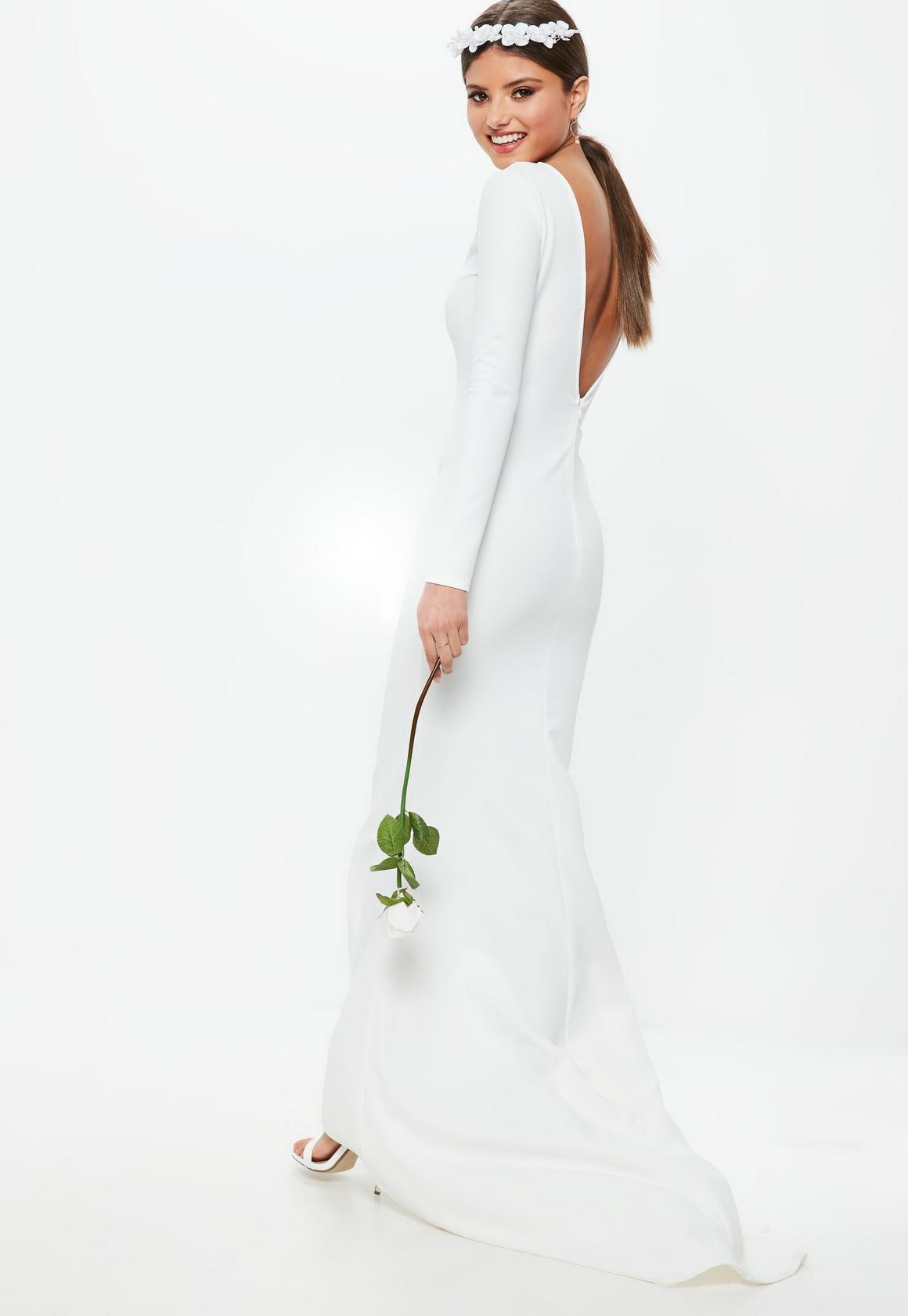 Bridal White Long Sleeve Open Back Fishtail Dress | Missguided