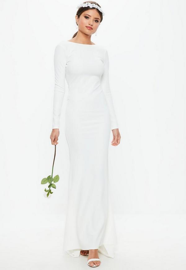 Bridal White Long Sleeve Open Back Fishtail Dress Missguided