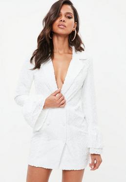 White Jacquard Flock Floral Frill Blazer Dress