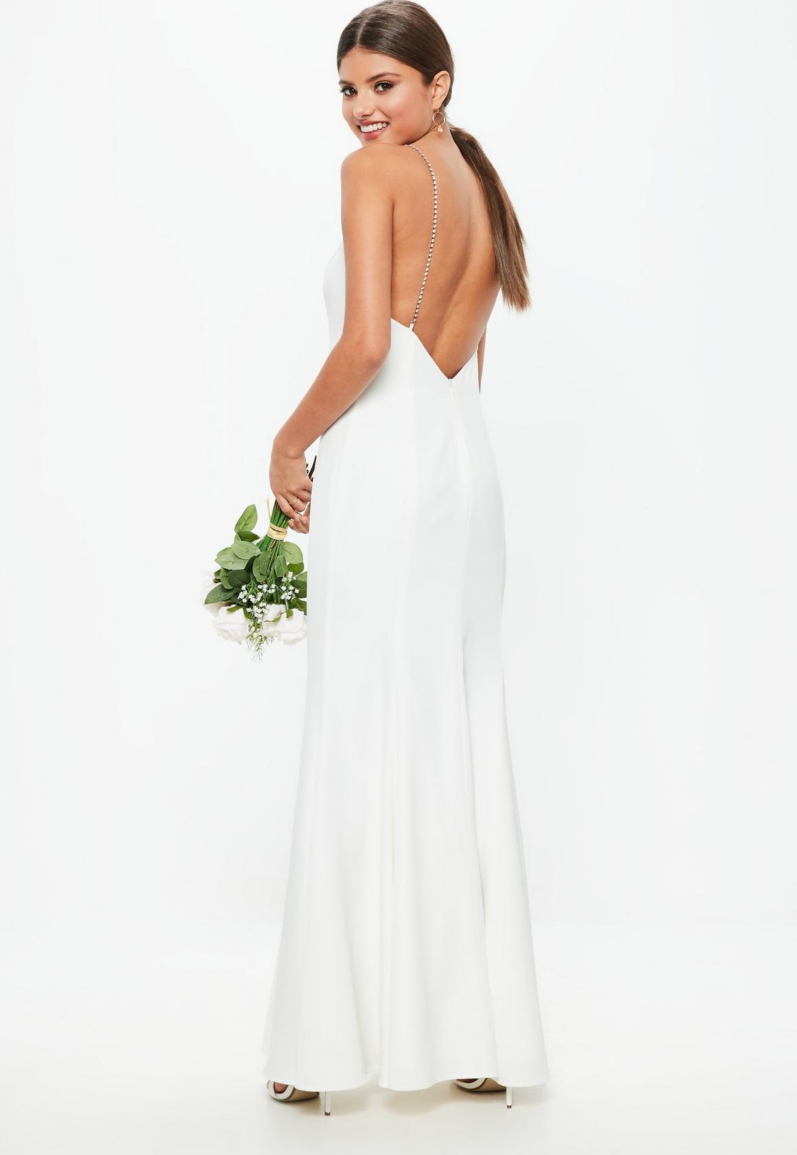 Weißes Maxi-Hochzeitskleid mit Strass-Trägern | Missguided