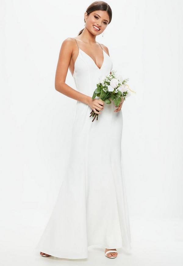 Bridal White Diamante Strap Maxi Dress | Missguided
