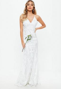 Bridal White Strappy Sequin Embellished Fishtail Maxi Dress