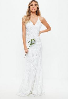Ślubna Biała sukienka maxi w cekinowe wzory na ramiączkach
