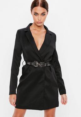 Black Western Belted Blazer Dress