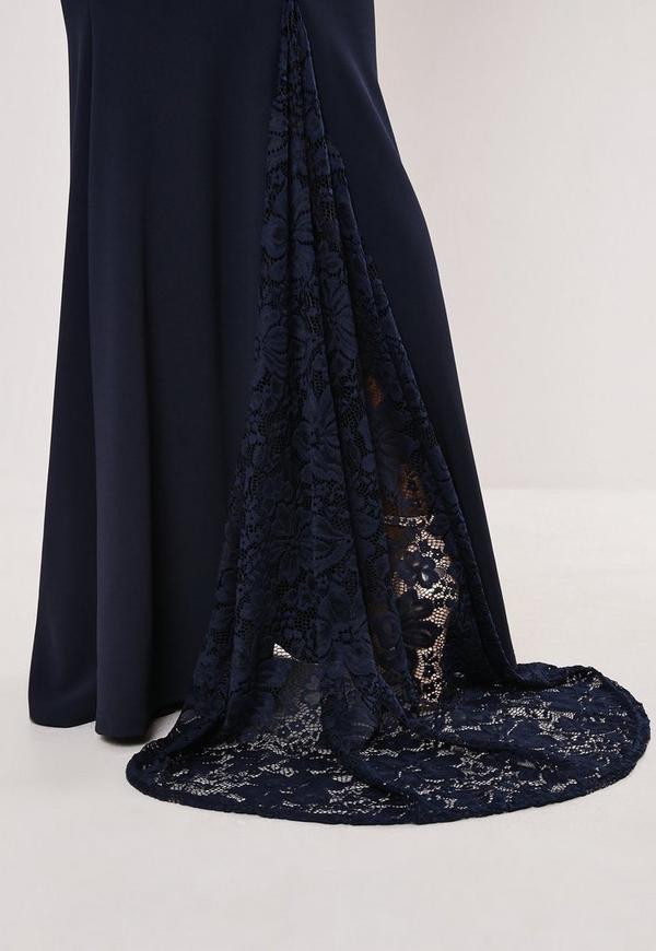 Bridesmaid Navy Bardot Lace Insert Fishtail Maxi Dress