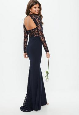 Bridesmaid Navy Round Neck Lace Insert Fishtail Maxi Dress