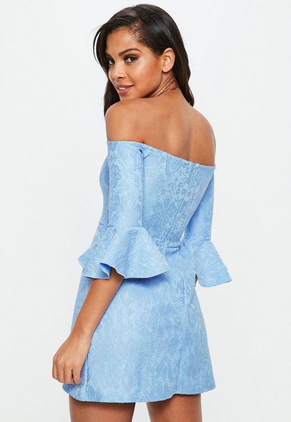 b93ca3969b Blue Bardot Lace Frill Mini Dress