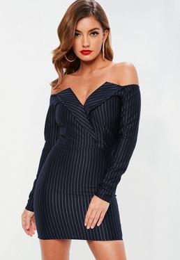 Navy Pinstripe Bodycon Dress