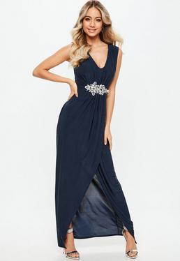 Druhna Granatowa sukienka maxi z diamentowym zdobieniem