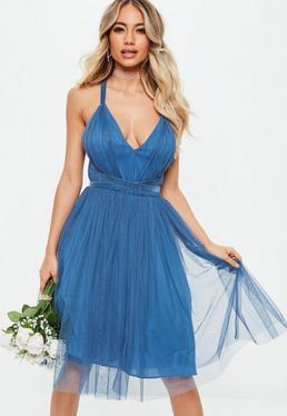 Bridesmaids Blue Mesh Plunge Mini Skater Dress