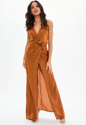 Rust Satin Front Split Wrap Maxi Dress | Missguided