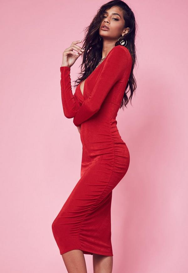 Red Plunge Maxi Dress | Missguided