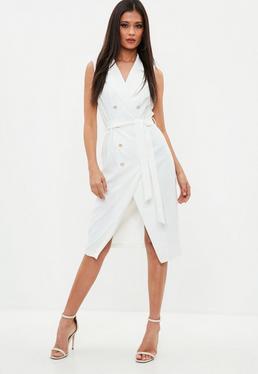 Biała żakietowa sukienka midi