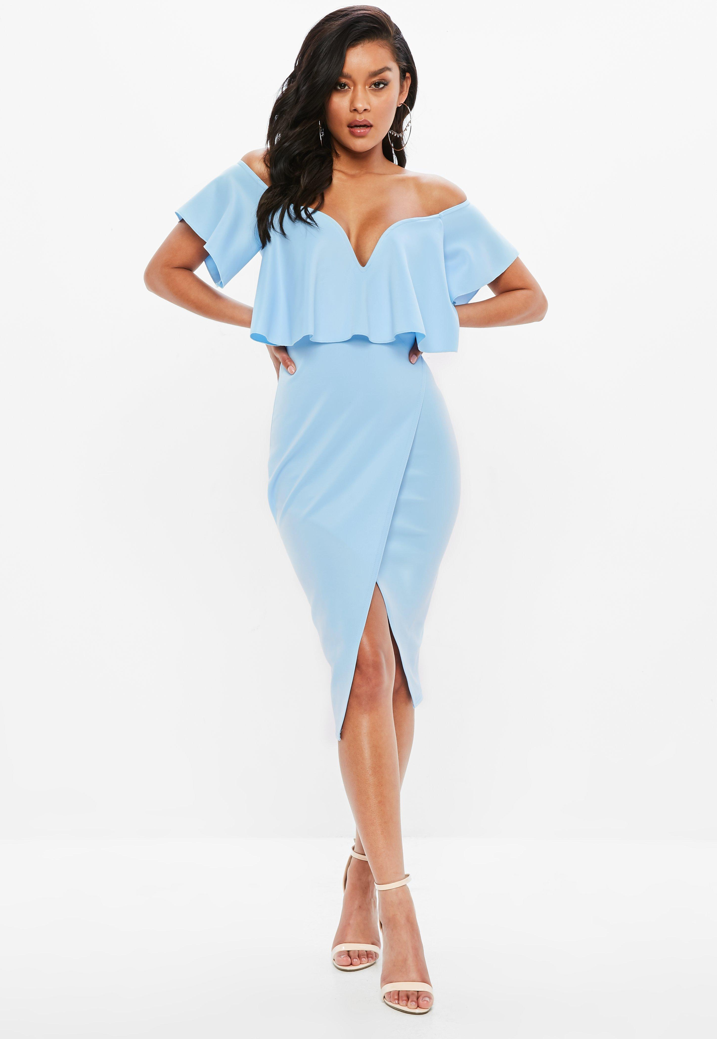 Blue Bardot Frill Sweetheart Midi Dress  05685103d