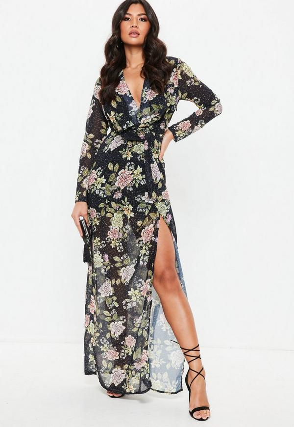 Black Floral Wrap Front Maxi Dress Missguided