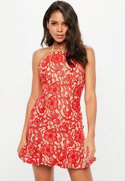 Premium Red 90s Neck Lace Frill Hem Skater Dress