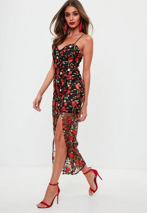 Missguided - Premium Black Floral Embroidered Maxi Dress, Red - 2