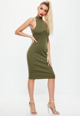 Khaki High Neck Bust Cup Bodycon Midi Dress