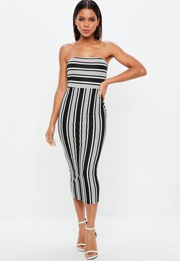 Monochrome Stripe Bandeau Midi Dress
