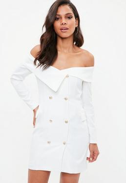 Biała sukienka marynarka bardot