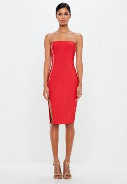 Peace + Love Red Bandeau Zip Detail Bodycon Midi Dress
