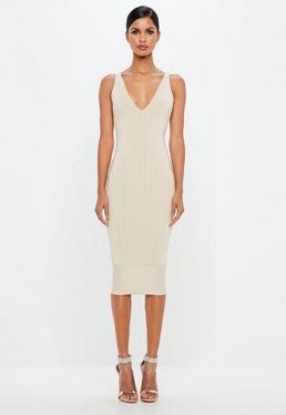 Peace + Love Nude Bandage Scoop Back Bodycon Midi Dress