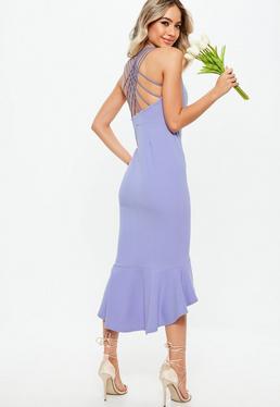 Druhna Liliowa sukienka midi z krzyżowanymi ramiączkami