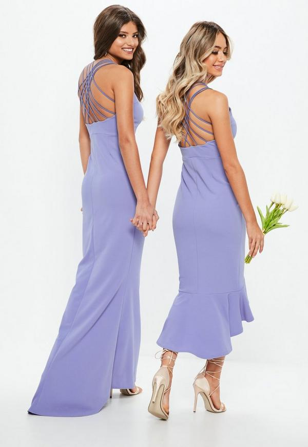 Bridesmaid Blue 90s Neck Strappy Fishtail Midi Dress   Missguided