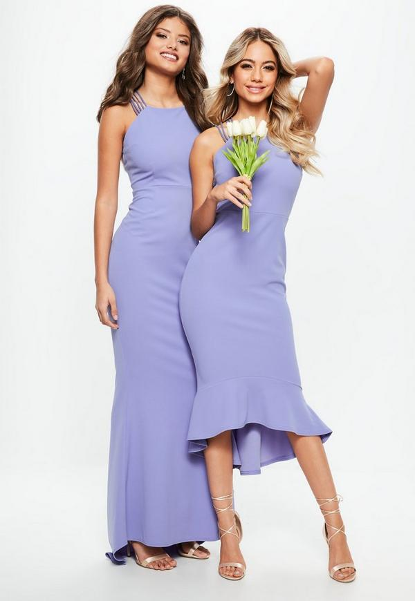 Bridesmaid Blue 90s Neck Strappy Fishtail Maxi Dress | Missguided