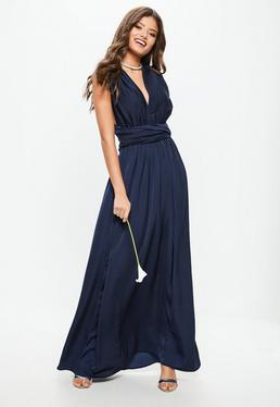 Vestido largo dama de honor con multiposición de satén en azul marino