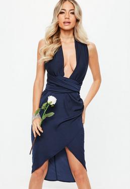 Vestido midi dama de honor con multiposición de satén en azul marino