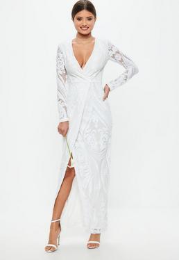 Ślubna Biała zawijana sukienka maxi w cekinowe wzory z długimi rękawami