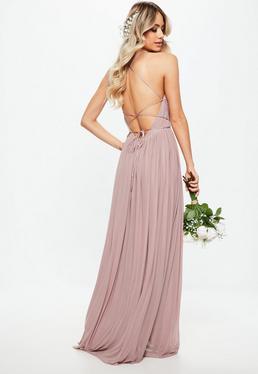 Druhna Różowa plisowana sukienka maxi z odkrytymi plecami