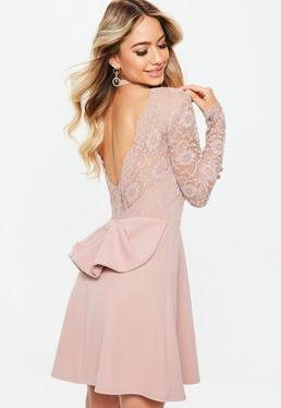 Bridesmaid Pink Backless Lace Bow Detail Skater Dress
