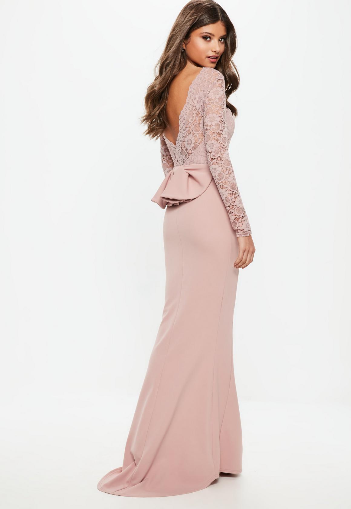 Vestido largo dama de honor de espalda descubierta con lazo en rosa ...